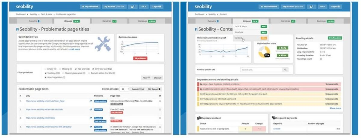 Easily optimize your sites with Seobility