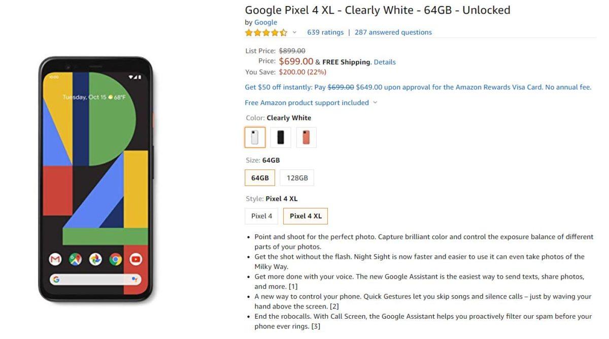 Google Pixel 4 XL Amazon Deal