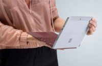 Microsoft Surface Go held on hands