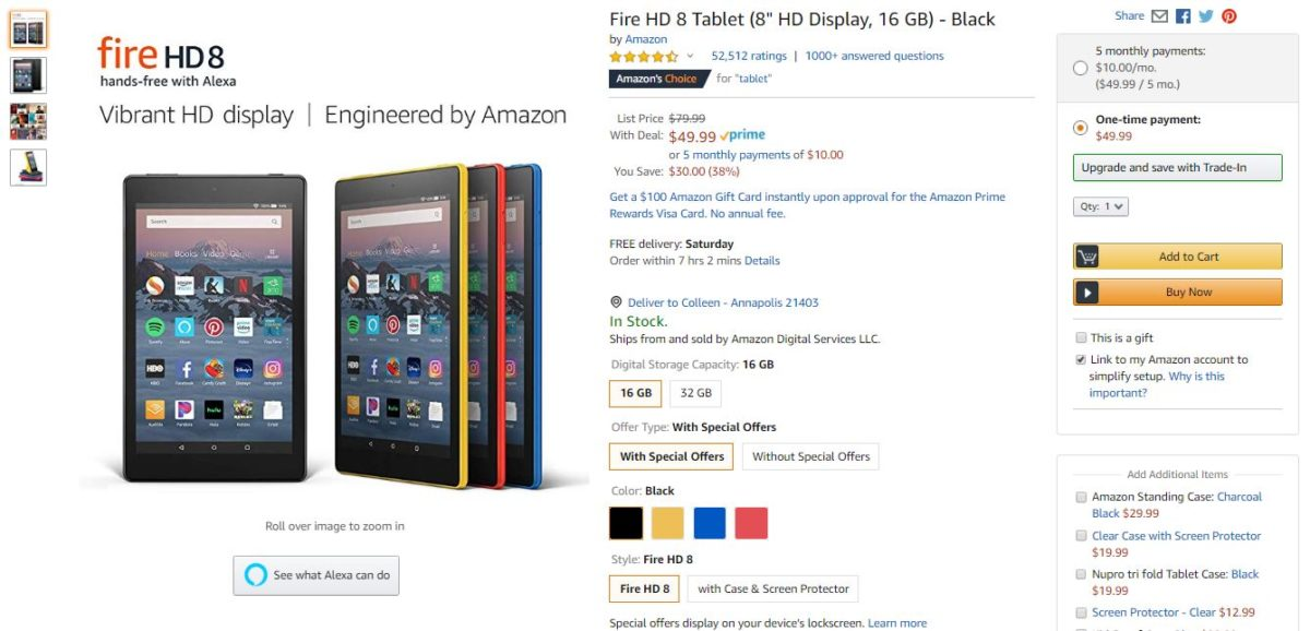 Amazon fire 8 tablet deal