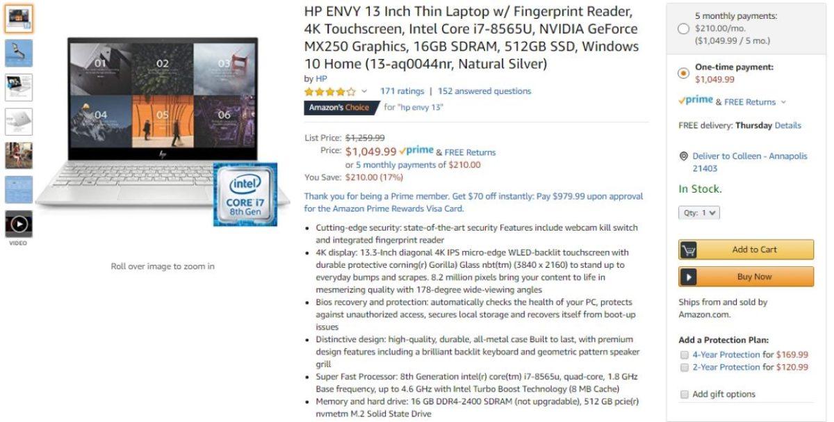 hp envy 13 deal