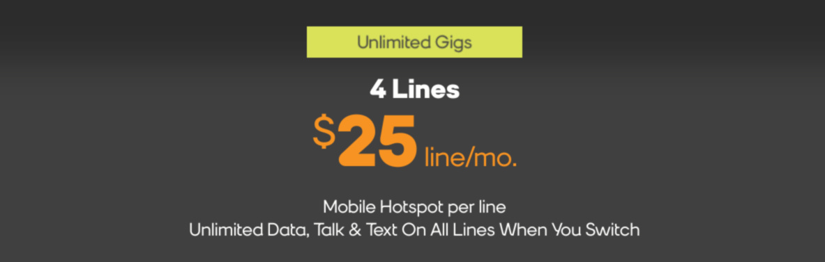 Boost Mobile deal 4 lines for 100