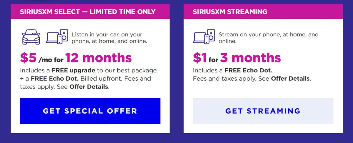 Sirius deal: 3 months of satellite radio and an Echo Dot for just $1!